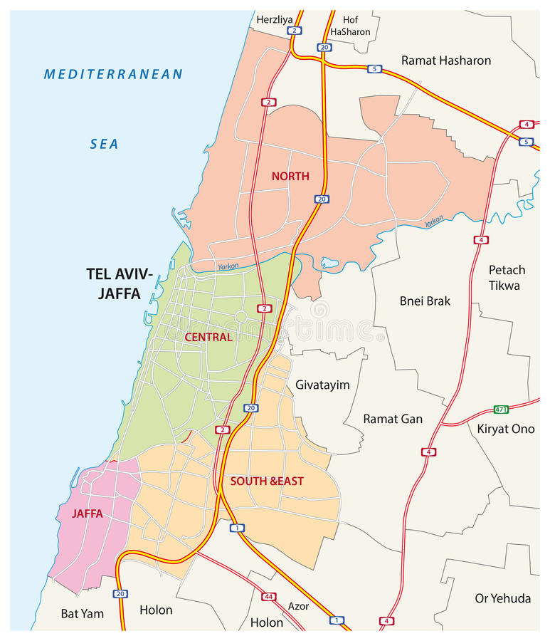 Administrative Roads And Political Map Of The Israeli City Of Tel