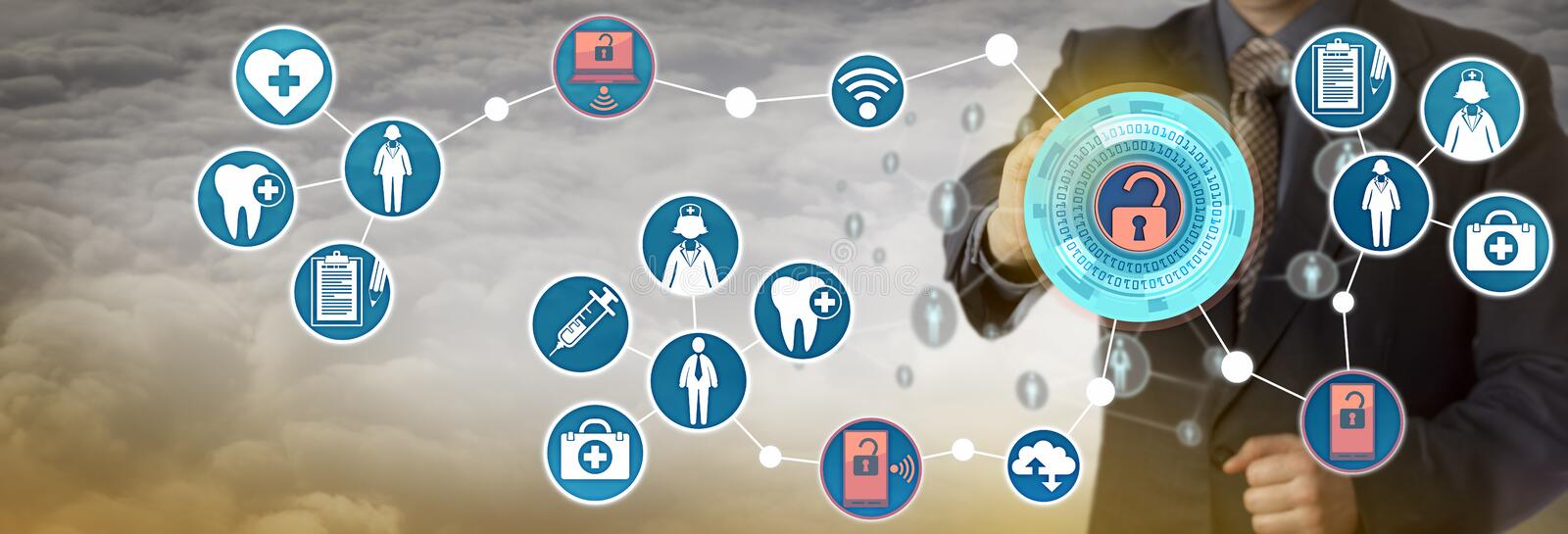 Administrator Accessing Patient Data Via Network. Unrecognizable health care sector administrator accessing patient data via mobile computer network. Concept for royalty free stock images