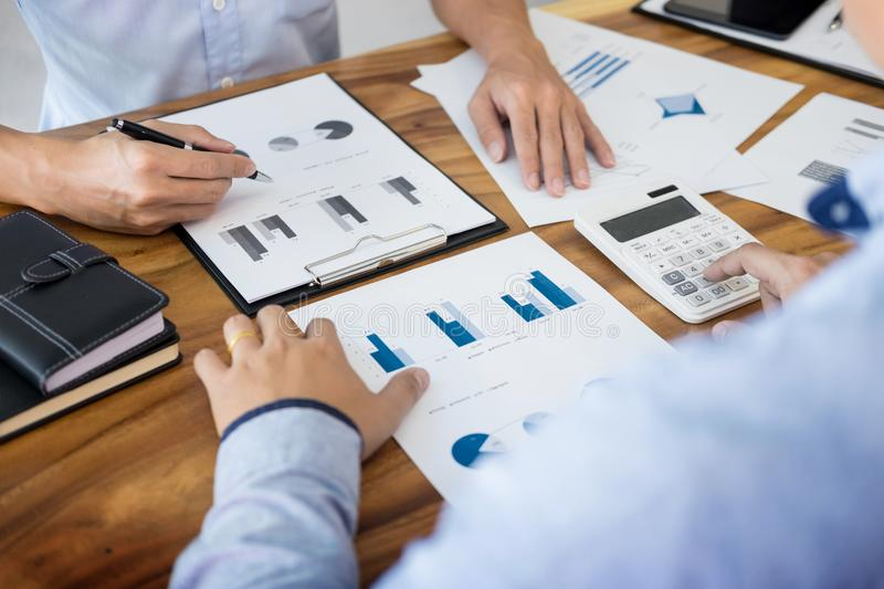 Administrator business man financial inspector and secretary making report, calculating balance. Internal Revenue Service stock image