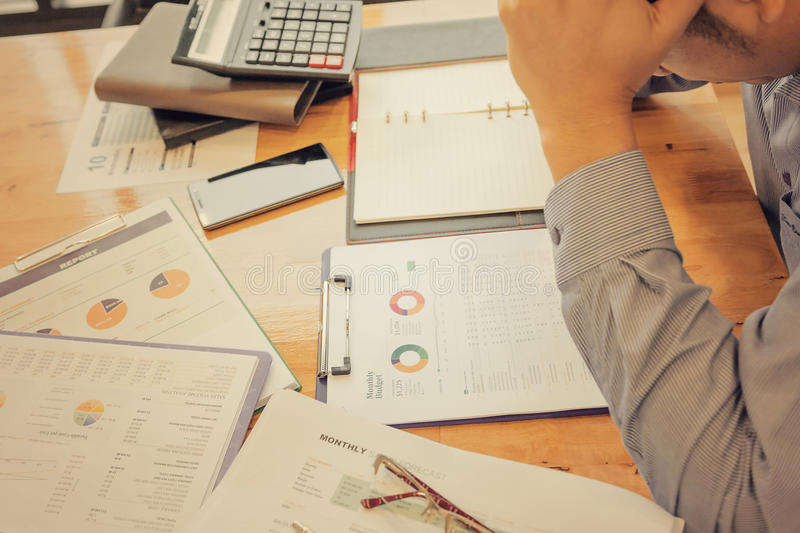 Administrator business man financial inspector and secretary making report. royalty free stock images