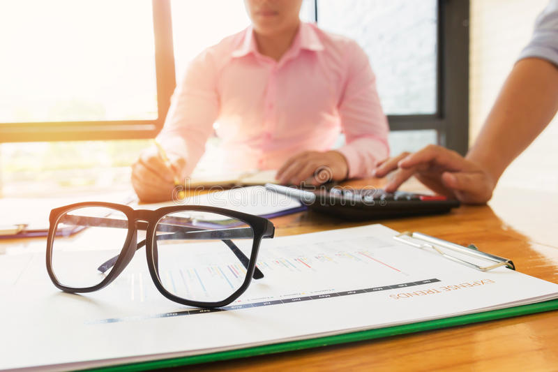 Administrator business man financial inspector and secretary making report. Administrator business man financial inspector and secretary making report royalty free stock photo