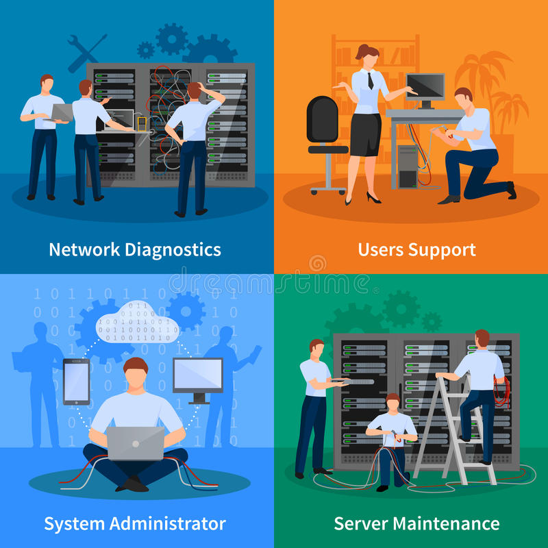 IT Administrator 2x2 Design Concept vector illustration