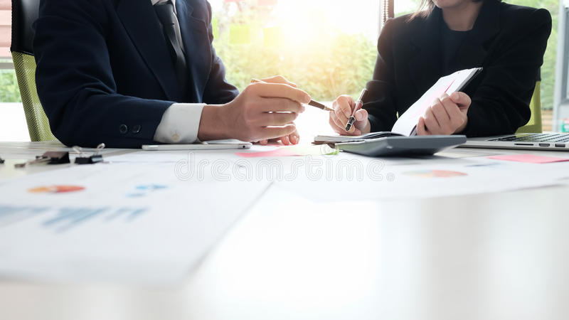 Administrator financial inspector and secretary making report. stock image