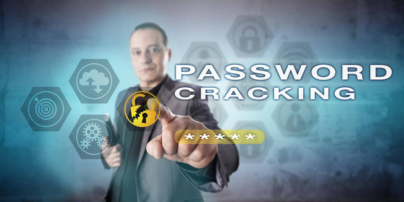 Administrator Pointing Out PASSWORD CRACKING. Male system administrator is pointing out PASSWORD CRACKING onscreen. Computer security metaphor and cybercrime stock image