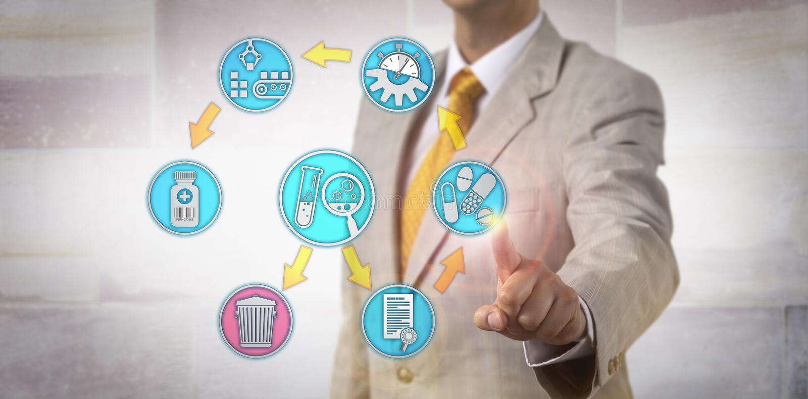 Administrator Presenting Drug Safety Process. Unrecognizable corporate administrator presenting pharmacovigilance audit process via touch screen. Pharmaceutical stock photography