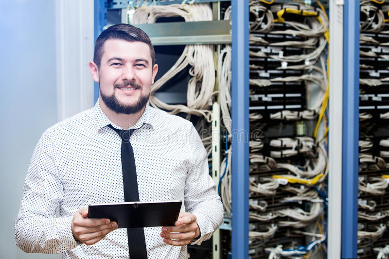 IT administrator at the server. Customer Support royalty free stock images