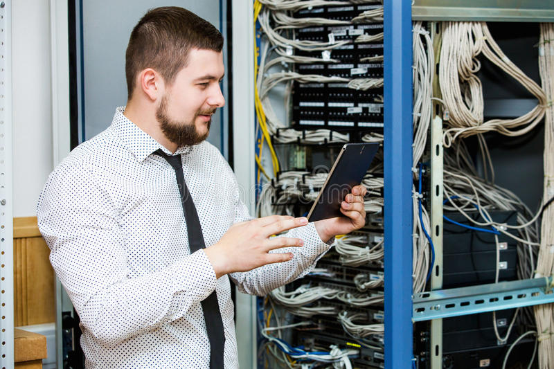 IT administrator at the server. Customer Support royalty free stock photos
