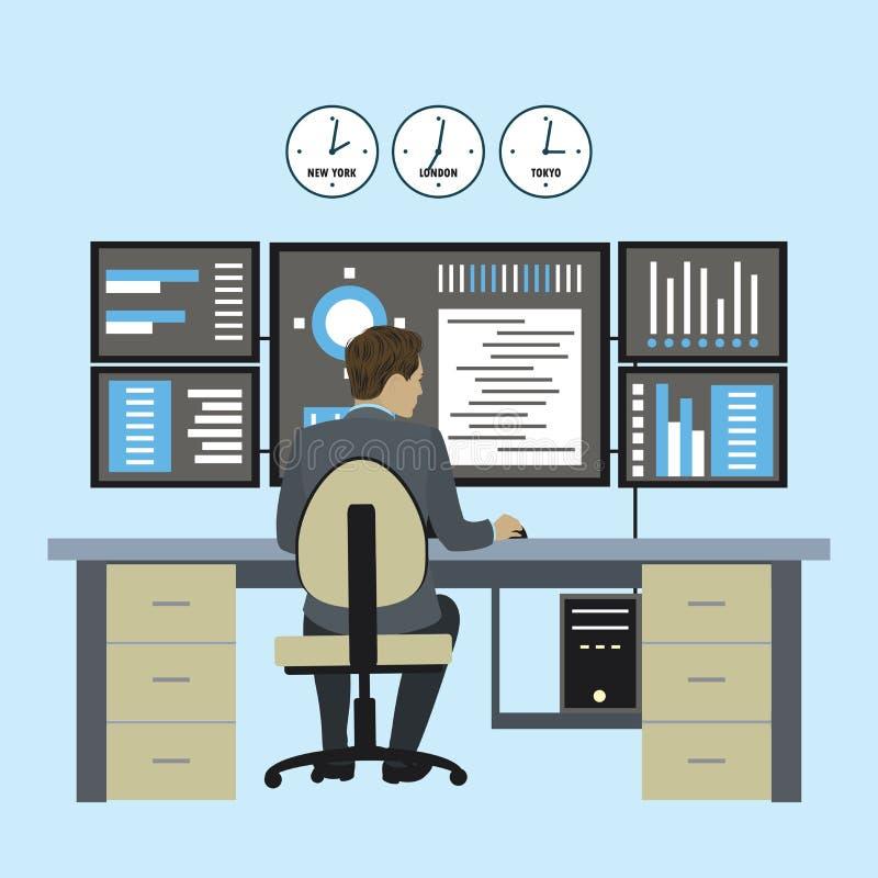 Administrator Systemu lub pieniężny handlowiec pracujemy dla wieloskładnikowych monitorów, męski urzędnika plecy widok royalty ilustracja