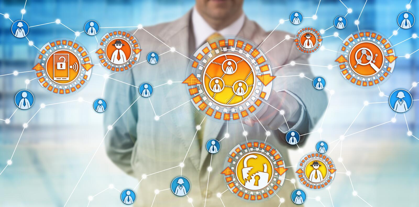 Administrator Troubleshooting Social Network. Unrecognizable administrator is troubleshooting a social network for intrusions and cyber threats. Cybersecurity stock photo