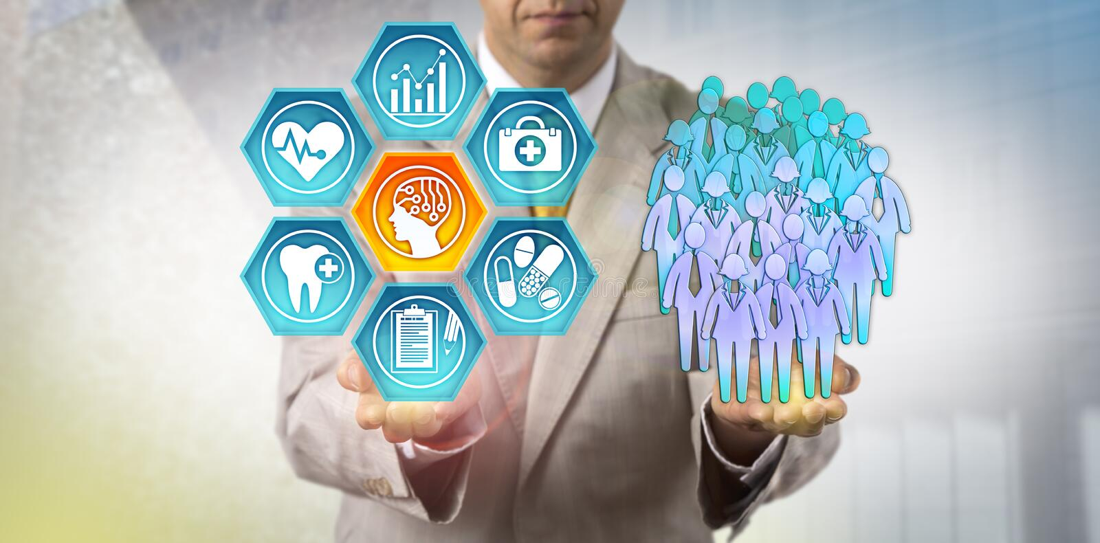 Administrator Using AI In Population Health Study. Unrecognizable healthcare administrator reviewing health outcomes of a human group via an AI application royalty free stock photos