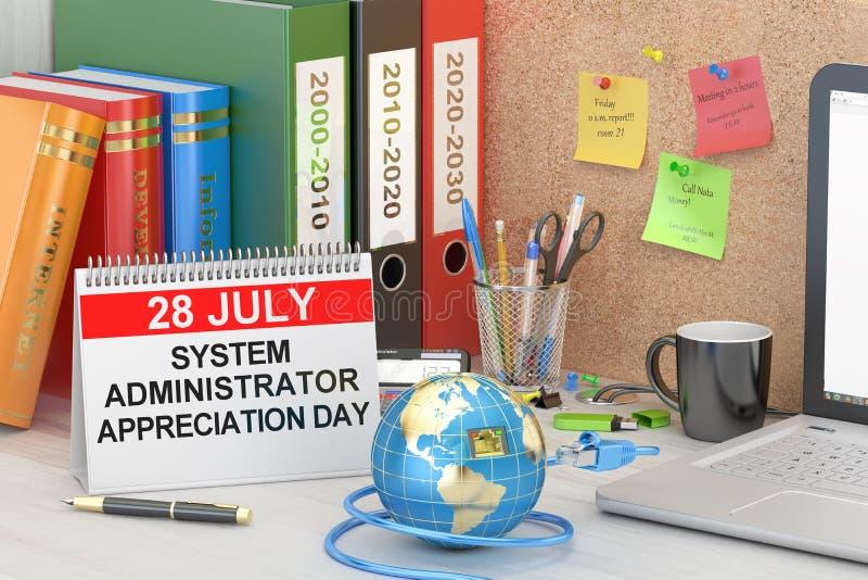 Administratora Systemu docenienia dzień, SysAdmin dnia pojęcie, 3D ilustracja wektor