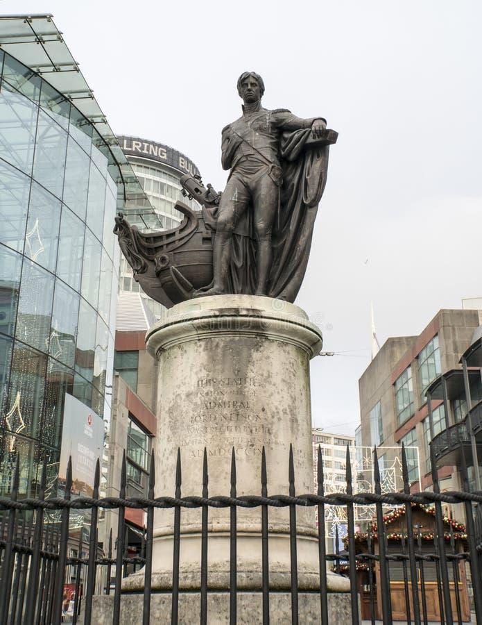 Admiraal Lord Nelson Statue, Birmingham, het UK royalty-vrije stock foto