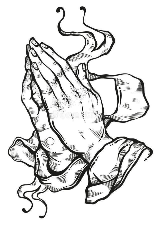 A admirablement détaillé les mains humaines pliées dans la prière Appel à Dieu Foi et espoir Motifs religieux Art scolaire Lumièr illustration de vecteur