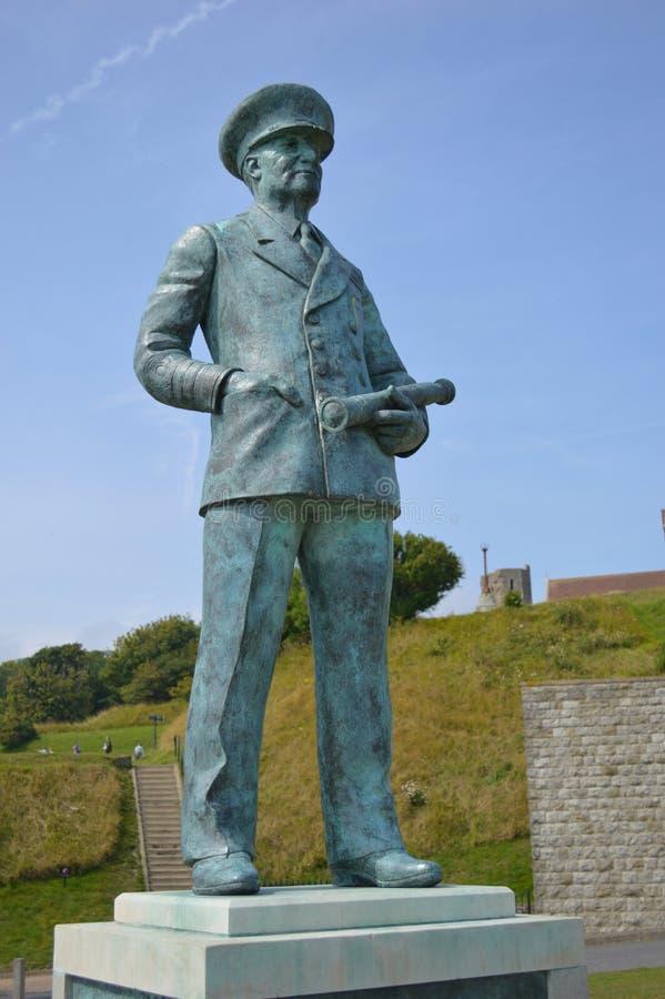 Admiral Bertram Ramsay statua, Dover kasztel zdjęcia royalty free