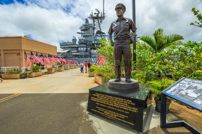 Admiral Chester W Nimitz. HONOLULU, OAHU, HAWAII, USA - AUGUST 21, 2016: statue of Admiral Chester W. Nimitz at battleship Missouri Pearl Harbor Memorial with stock photography