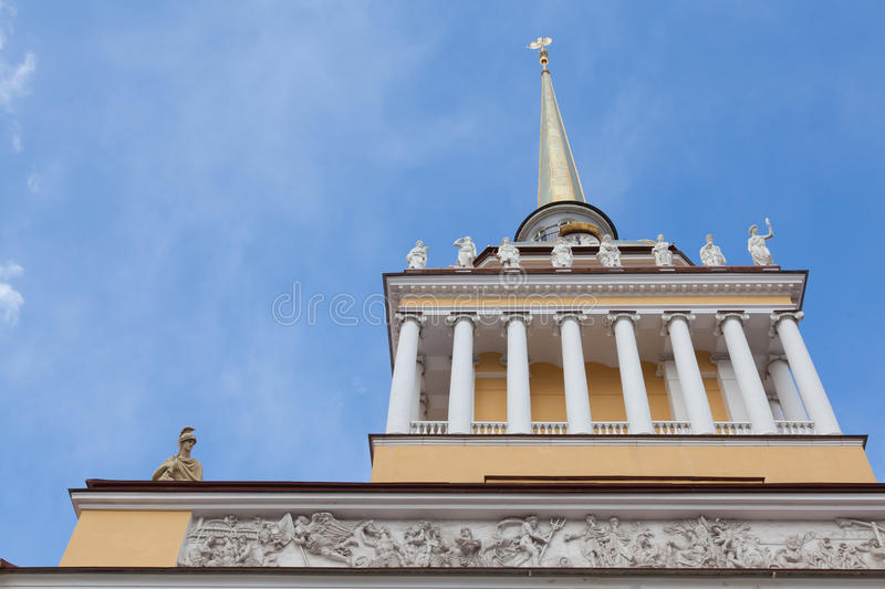Admiralty spire. Bottom view of the tower and spire of the Admiralty building in St. Petersburg, Russia royalty free stock photos