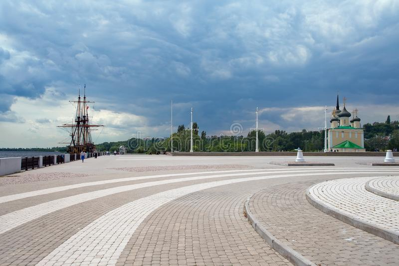 Admiralty Square - embankment of Voronezh with ship-museum and stock image
