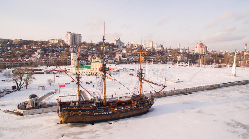 Admiralty Square and the monument to the first ship built in Russia in Voronezh at winter aerial view royalty free stock photos