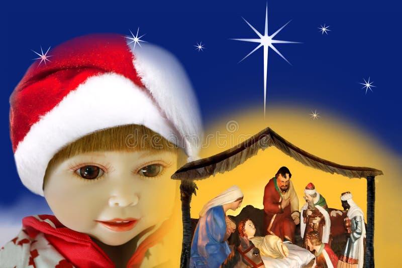 Admirando a menina & o Natal do milagre, cena da natividade fotografia de stock royalty free
