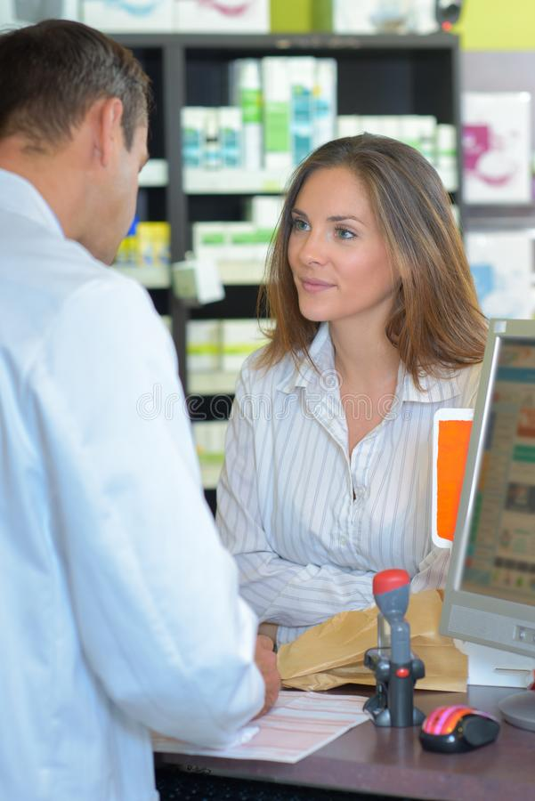 Admiration for the pharmacist royalty free stock image