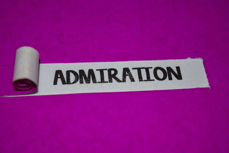 Admiration text, Inspiration and positive vibes concept on purple torn paper stock photo