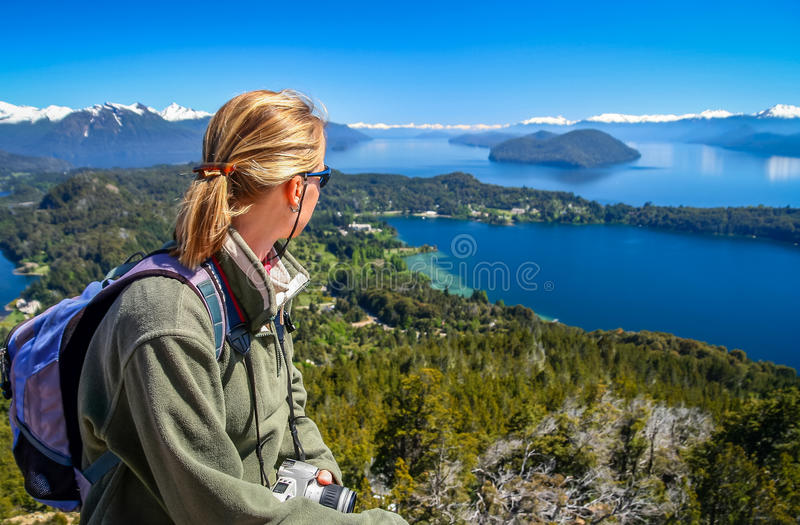 Admiring Argentinian Lake District royalty free stock photography