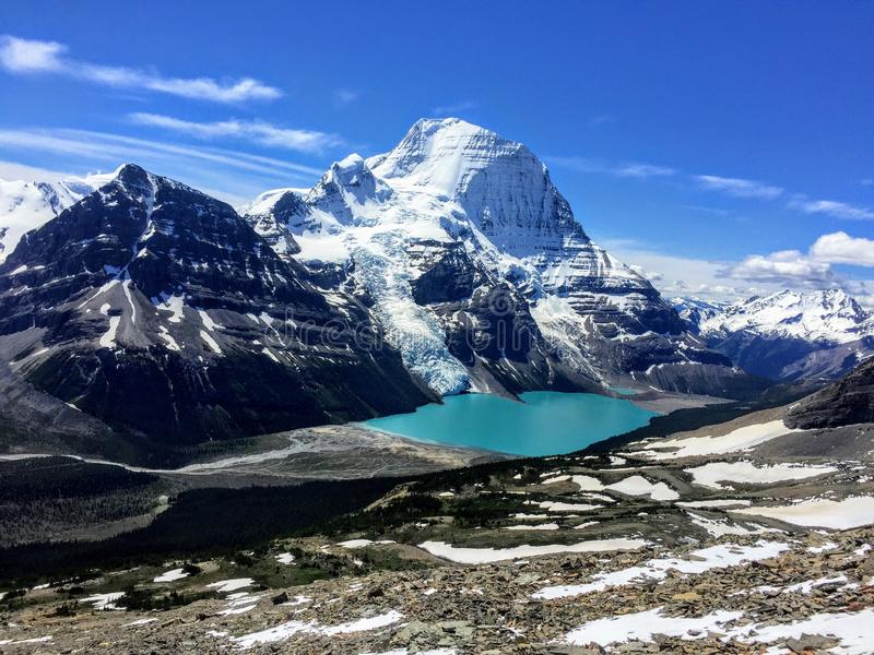 Admiring the incredible views of Berg lake and Mount Robson Glacier in Mount Robson Provincial Park royalty free stock image