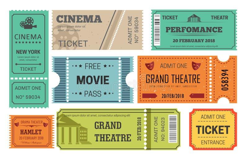 Admissão do cinema e do teatro do bilhete ou passagem do papel ilustração do vetor