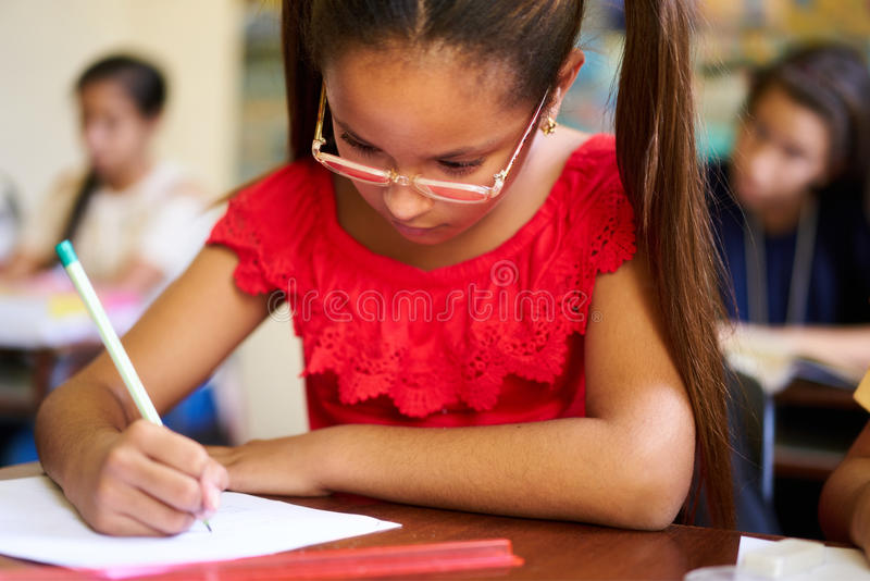 Admission Test And Examination For Group Of Students At School stock photo