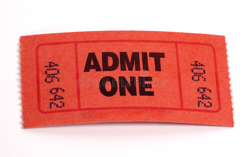 Admission Ticket. Photo of a Admit One Ticket royalty free stock photography