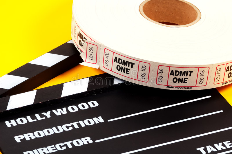 Admission Tickets. Movie Clapboard and Admit One Tickets royalty free stock photos