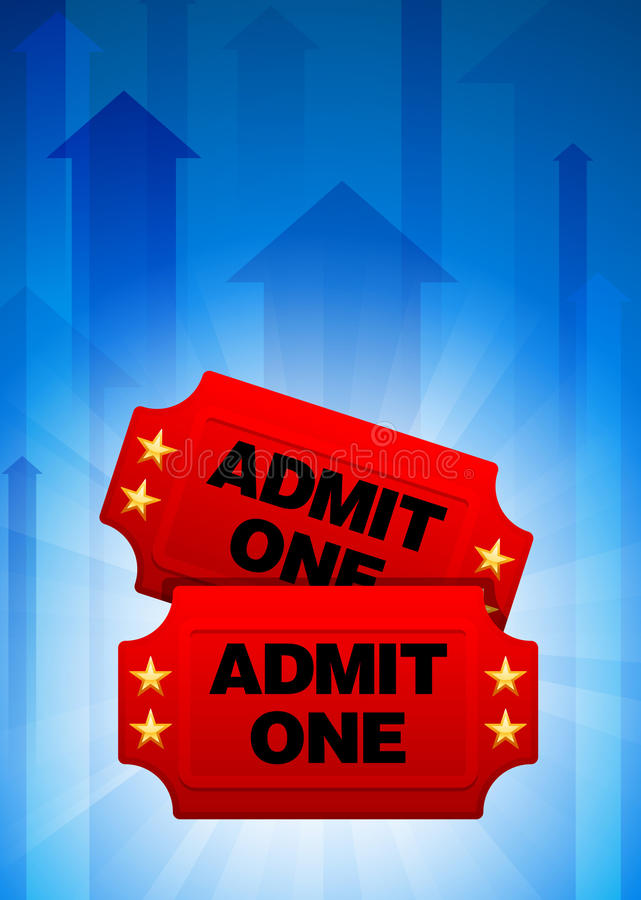 Download Admission Tickets On Blue Arrow Background Stock Illustration - Image: 14271937