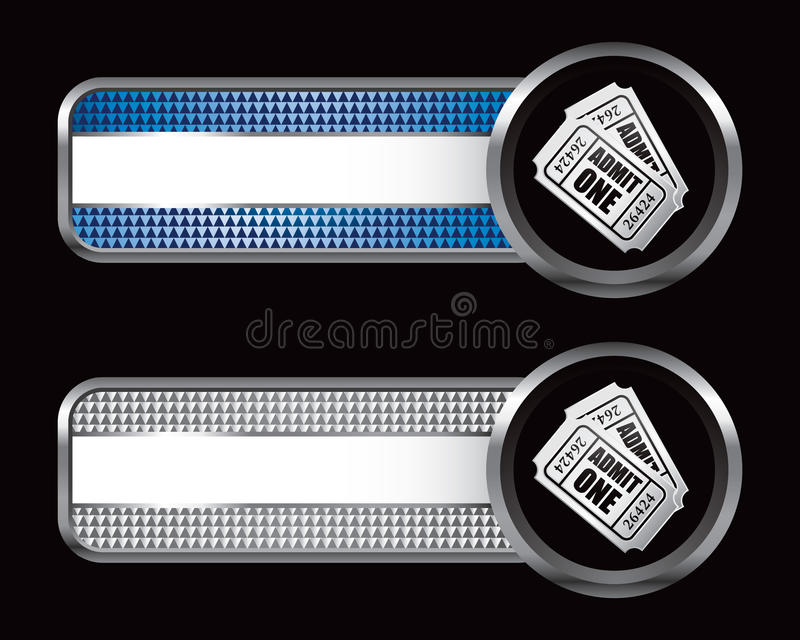 Admission Tickets On Checkered Striped Banners Stock Images