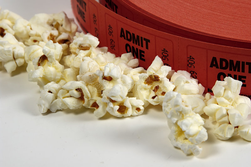 Admit One. Photo of Admit One Tickets and Popcorn royalty free stock photos