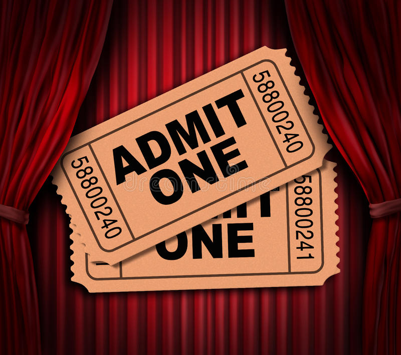 Download Admit One Movie Tickets On Red Drapes Stock Illustration - Image: 19037475