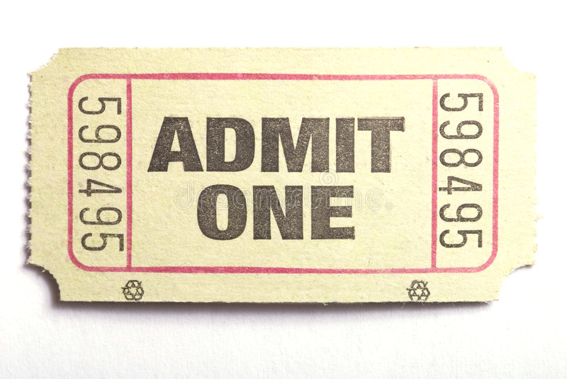 Download Admit one ticket stock photo. Image of entertainment, entry - 2922622