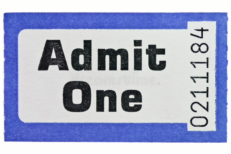 Admit one ticket stub isolated on white. Photo of an Admit One ticket stub isolated on a white background stock photos