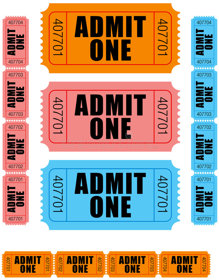 Download Admit one tickets 1 stock vector. Illustration of lottery - 3293016