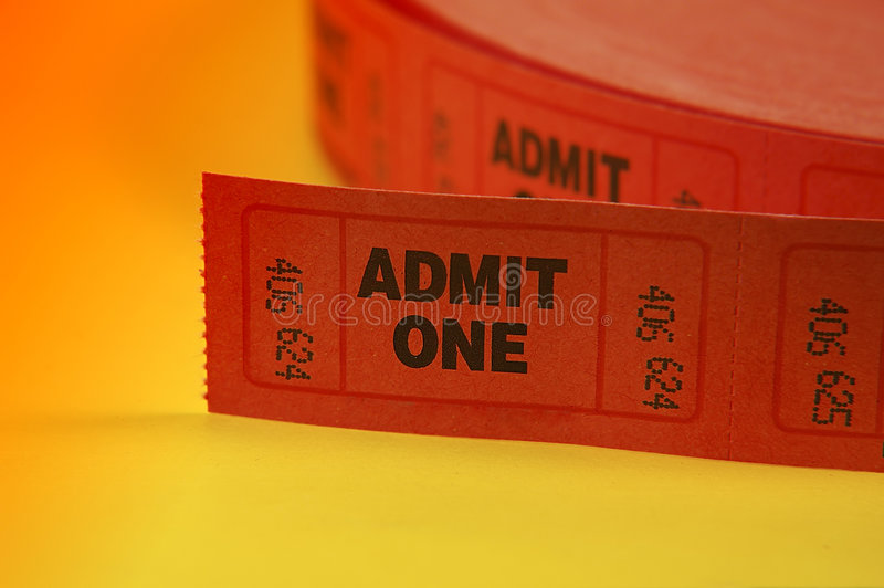 Admit One Tickets. Photo of Admit One Tickets stock images
