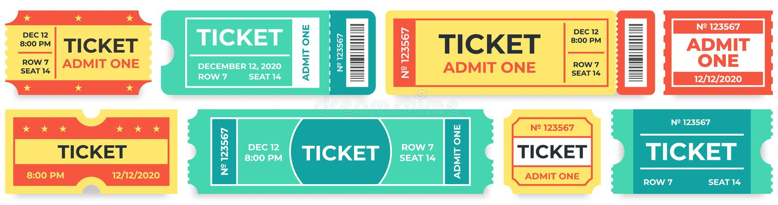 Admit one tickets. Circus entries coupon, retro cinema ticket and movie entrance coupons vector set. Admit one tickets. Circus entries coupon, retro cinema stock illustration