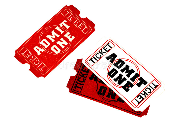 Admit One Tickets - Clipping Path. Included stock photography