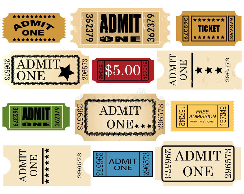 Admit ticket one set vector illustration