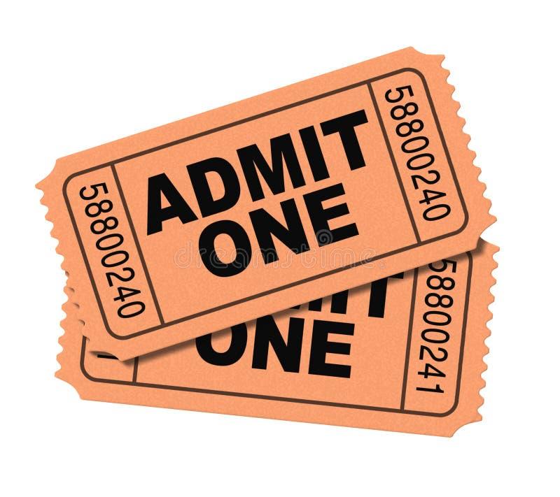 Admita los boletos de una película imagen de archivo