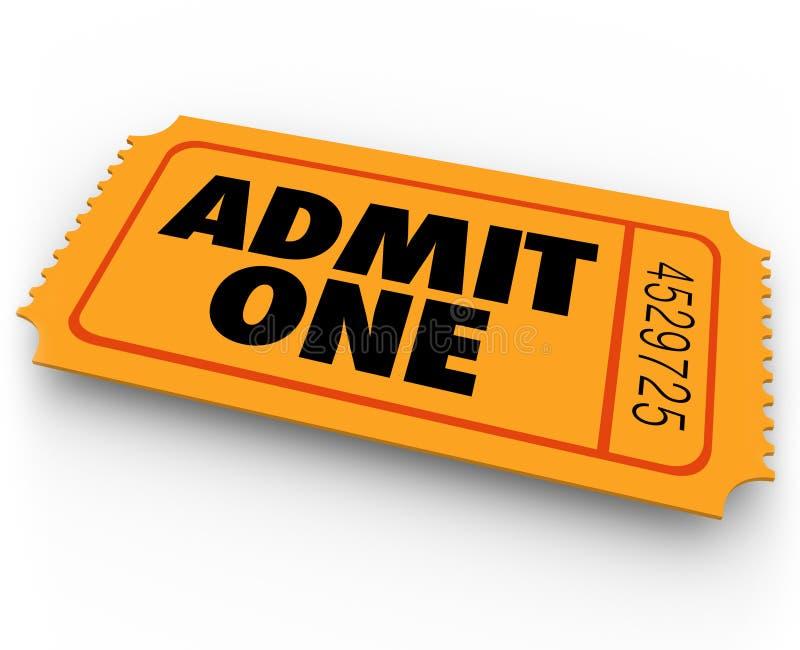 Admita que uno redacta la CA de la entrada de la admisión del concierto del teatro del cine del boleto ilustración del vector