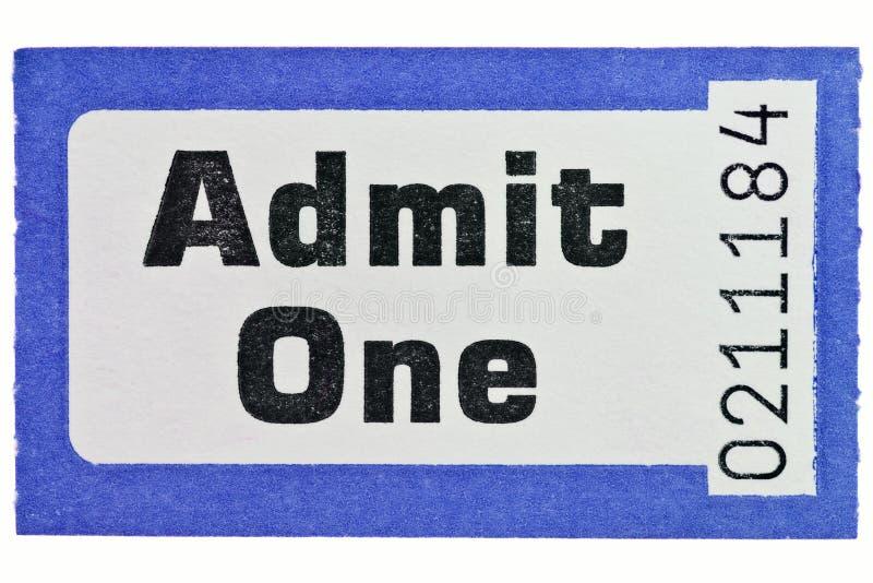 Admita um topo de bilhete isolado no branco fotos de stock