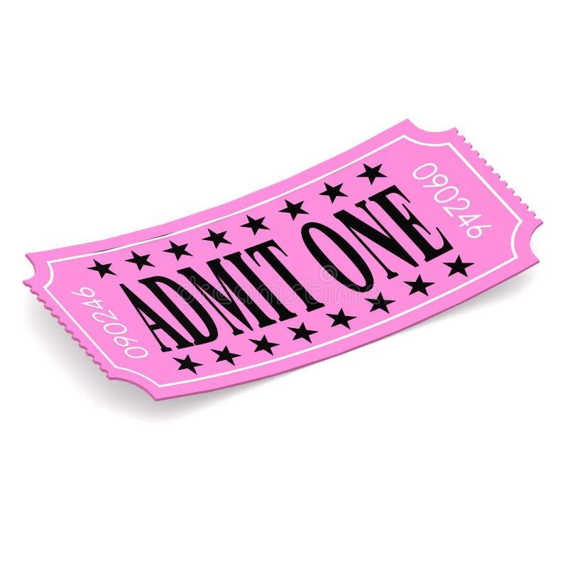 Admita un boleto rosado en el fondo blanco stock de ilustración
