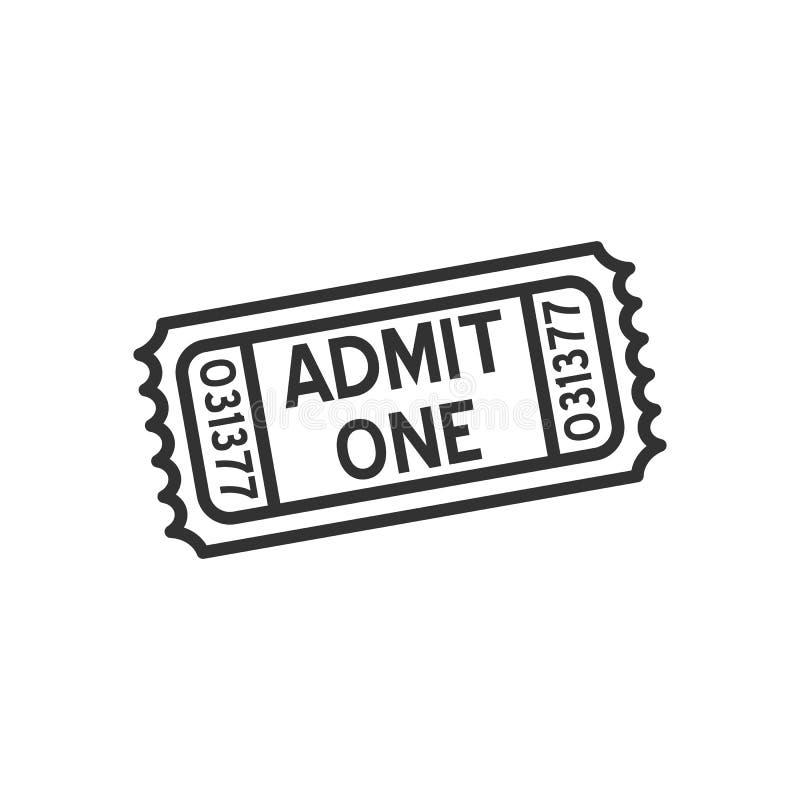 Admita un icono plano del esquema del boleto en blanco ilustración del vector