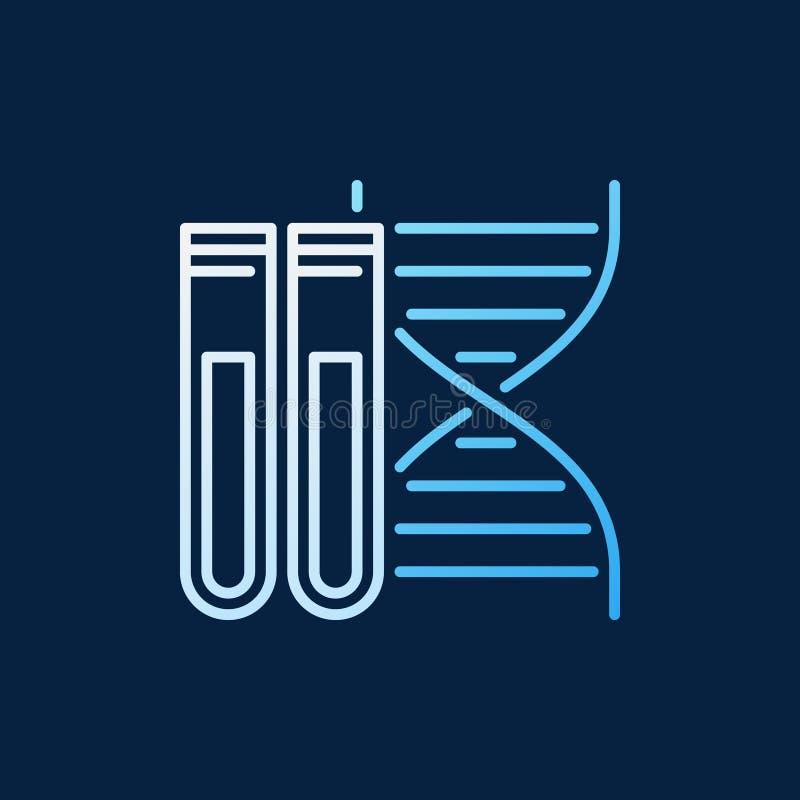 ADN avec la ligne icône ou signe colorée de vecteur de deux essai-tubes illustration stock