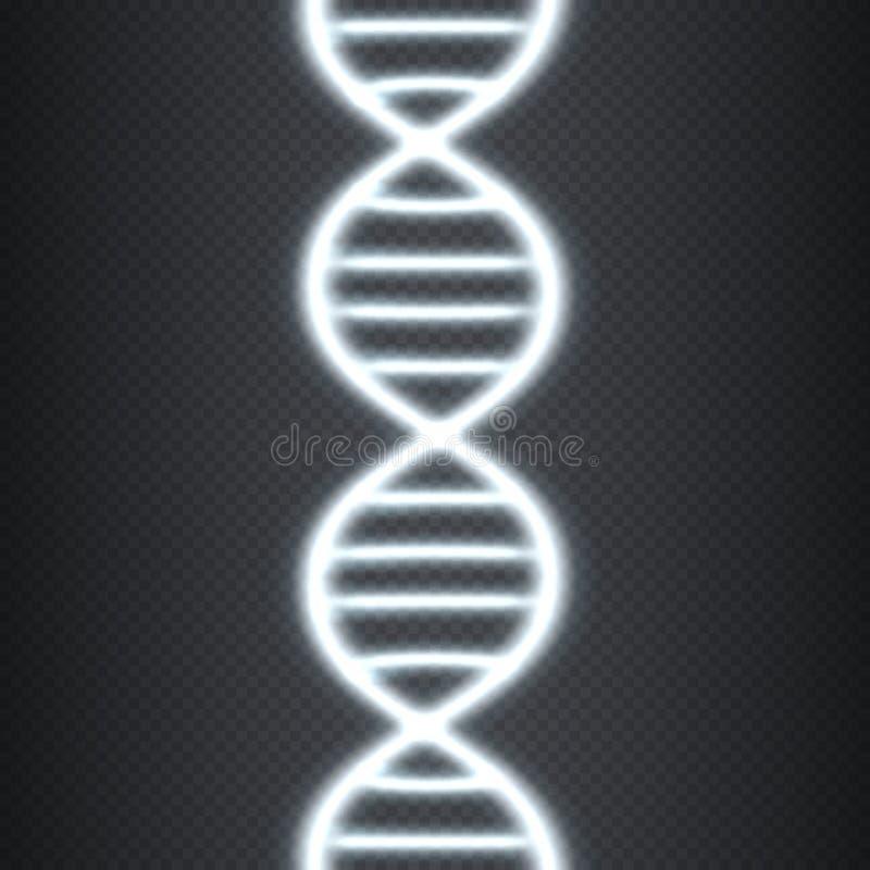 ADN brilhante do conceito, efeito transparente ilustração stock