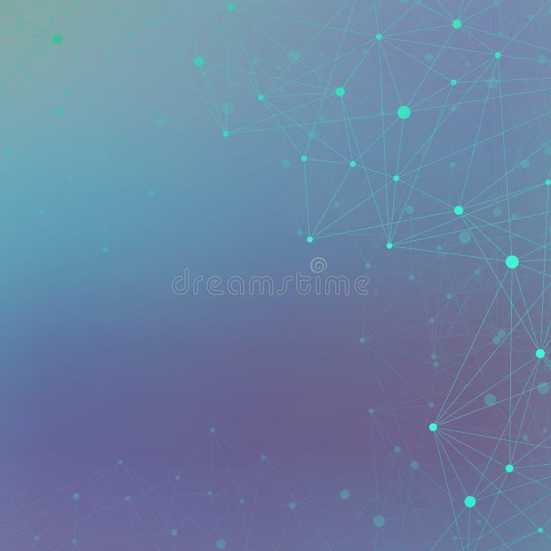 ADN da molécula e fundo de uma comunicação Linhas conectadas com pontos Neurônio abstrato geométrico da composição Conceito ilustração do vetor